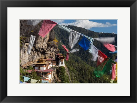 Framed Bhutan, Paro Prayer Flags Fluttering At The Cliff's Edge Across From Taktsang Monastery, Or Tiger's Nest Print