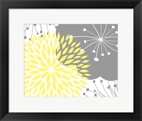 Framed Yellow Foliage Floral Print