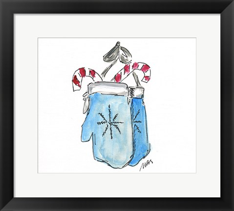 Framed Blue Mittens Print
