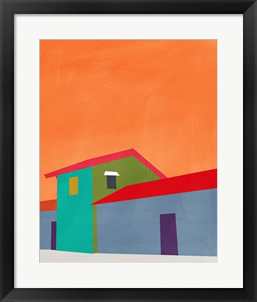 Framed Colorful Houses Print