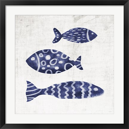 Framed Blue Fish on Beige Print