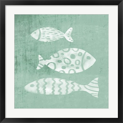 Framed Three Fish Seaglass Print