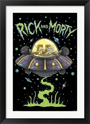 Framed Rick And Morty - Ship Print