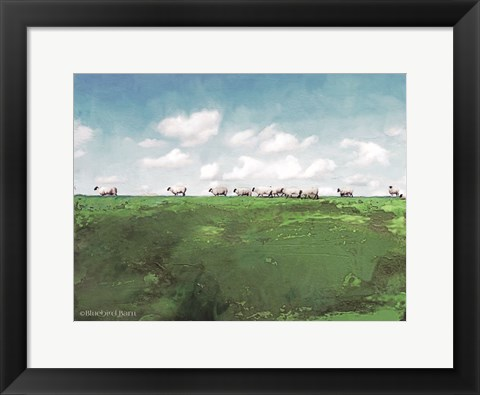 Framed Distant Hillside Sheep by Day Print