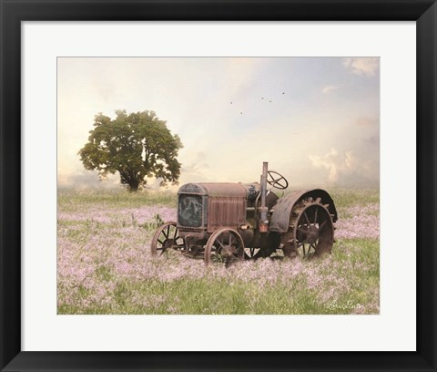 Framed Tractor at Sunset Print