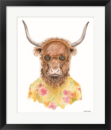 Framed Yak in Yellow Print