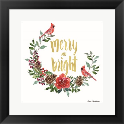 Framed Merry and Bright Wreath with Cardinals Print
