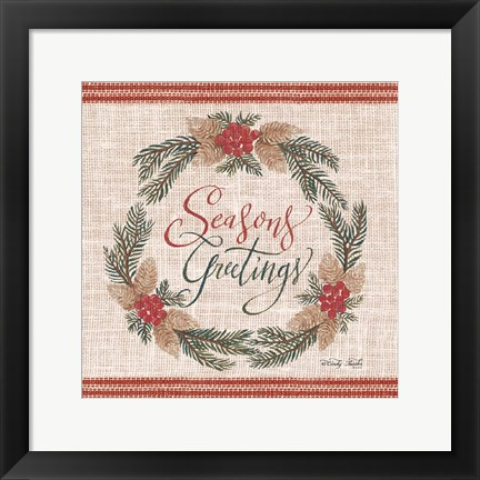 Framed Season's Greetings Wreath Print