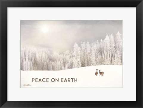 Framed Lava Mountain Snow Storm with Deer Print