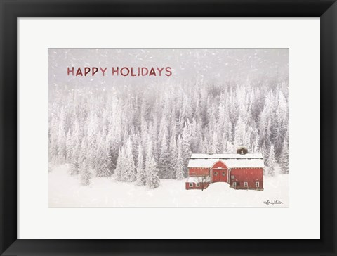 Framed Snowy Forest Happy Holidays Print