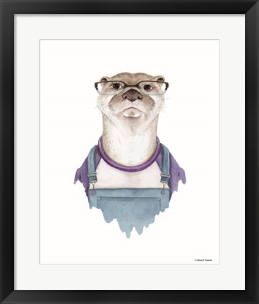 Framed Otter in Overalls Print