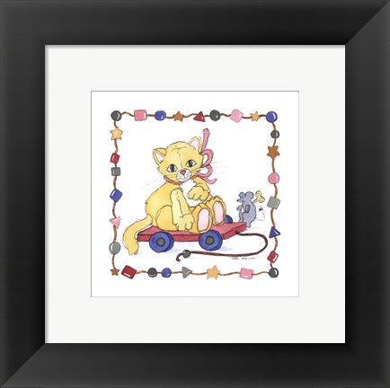 Framed Cat Pull Toy Print