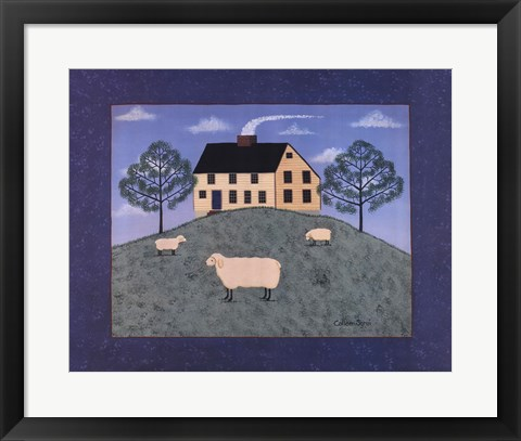 Framed Sheep on the Hillside Print