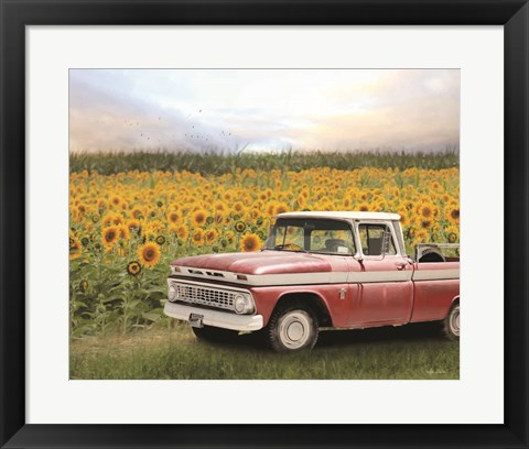 Framed Truck with Sunflowers Print