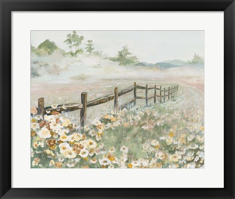 Framed Fence with Flowers Print