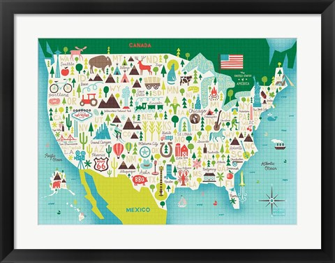 Framed Illustrate USA waves Print