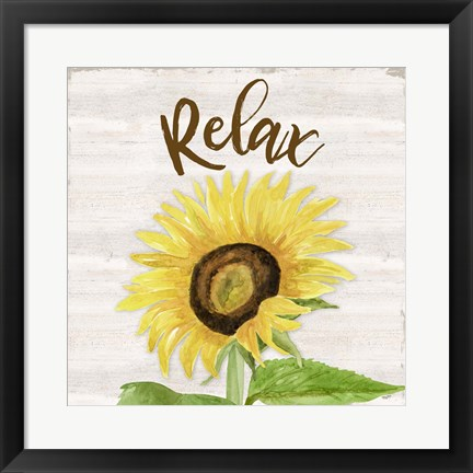 Framed Fall Sunflower Sentiment III-Relax Print