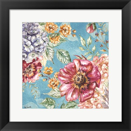 Framed Wildflower Medley square blue II Print