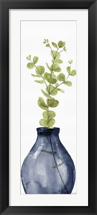 Framed Mixed Greenery II Navy Print