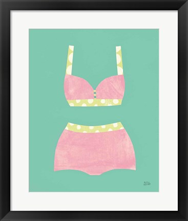 Framed Bathing Beauties III Pastel Print
