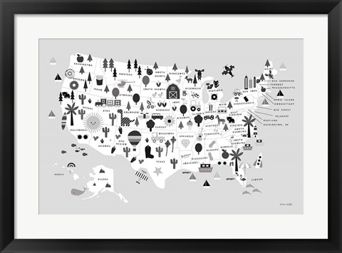 Framed Fun USA Map BW Print