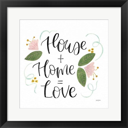 Framed Home Sweet Home III Green Print
