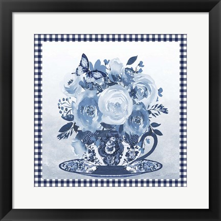 Framed Blue Teacup Bouquet C Print