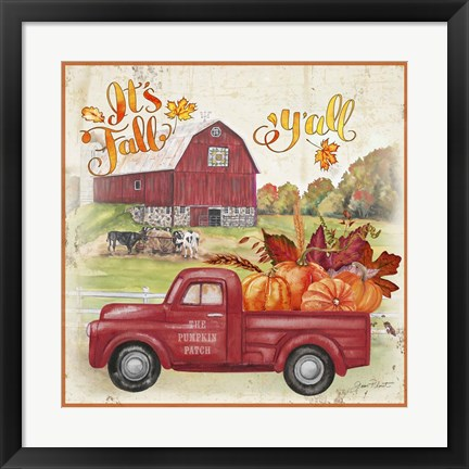 Framed Pumpkin Patch Truck A Print
