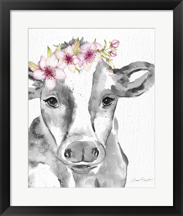 Framed Floral Cow A Print