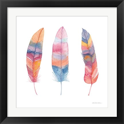 Framed Boho Feathers I Print