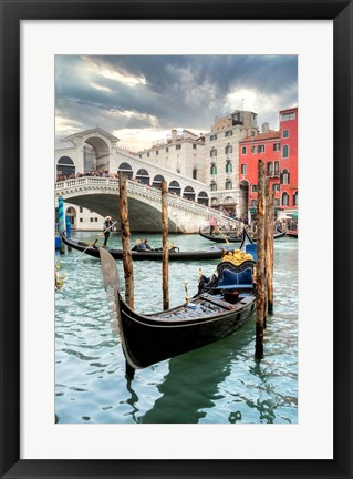 Framed Gondola Rialto Bridge #1 Print