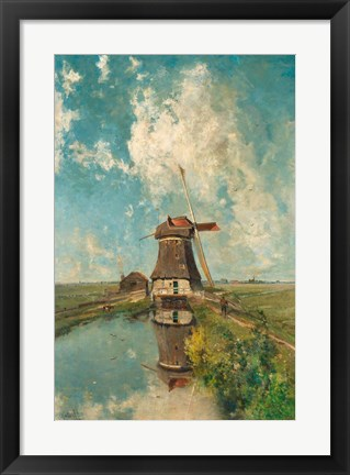 Framed Windmill on a Polder Waterway, c. 1889 Print