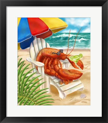 Framed Beach Friends - Lobster Print