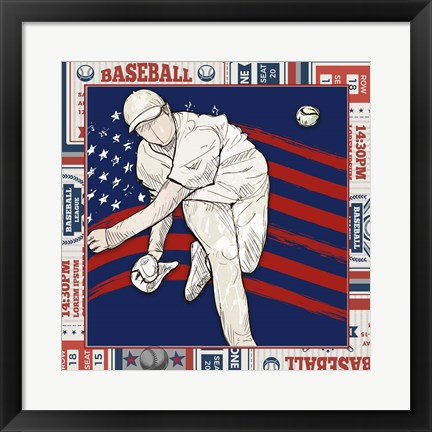 Framed American Baseball Player 2 Print
