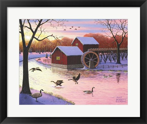Framed Canadian Geese at the Old Grist Mill #2 Print