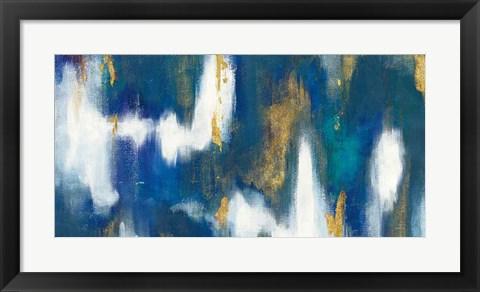 Framed Blue Texture II Gold Crop Print