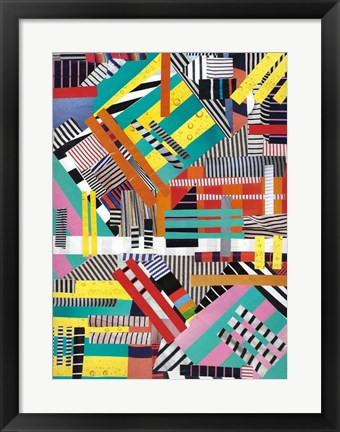 Framed Colorful Abstract Lines Print
