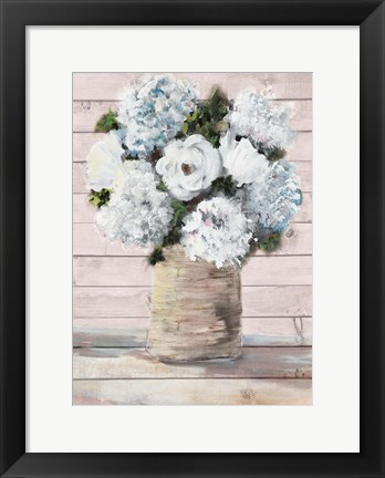 Framed White and Blue Rustic Blooms Print
