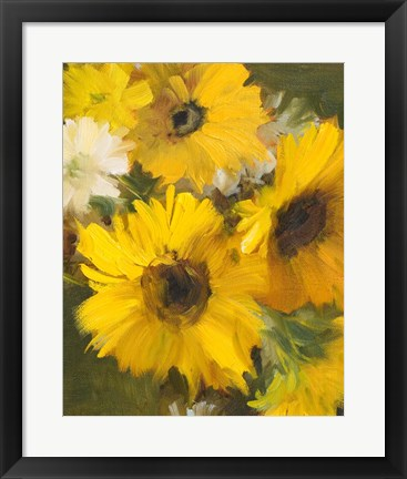 Framed Bright Yellow Sunflowers Print