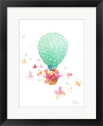 Framed Hot Air Balloon With Butterflies Print