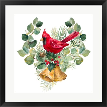 Framed Northern Cardinal On Holiday Bells Print