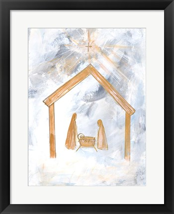 Framed Nativity Silver and Gold Print