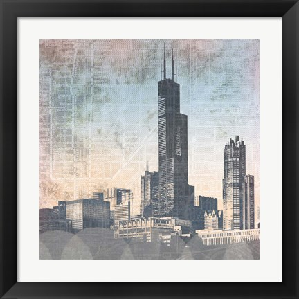Framed Chicago Skyline I Print