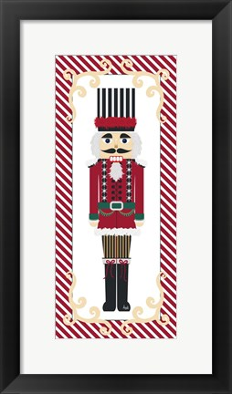 Framed Nutcracker On Red Stripe III Print