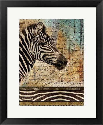 Framed Madagascar Safari with Blue II (Zebra) Print
