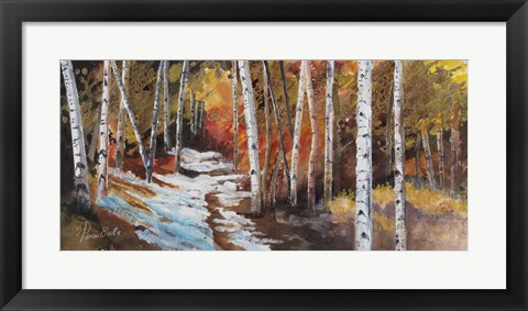 Framed Aspen in Snow Path Print