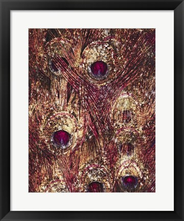 Framed Golden Ruby Peacock Feathers Print