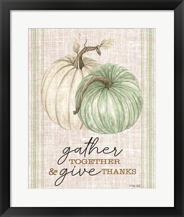 Framed Grain Sack Gather and Give Thanks Print