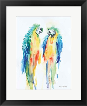 Framed Colorful Parrots I Print