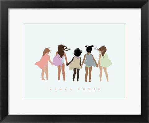 Framed Human Power with Capes Print